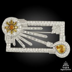 Estate Platinum Diamond Sunrise Brooch