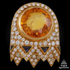 BULGARI Diamond & Yellow Sapphire Brooch
