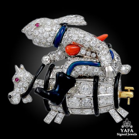 Platinum Diamond Ruby Rabbit Brooch