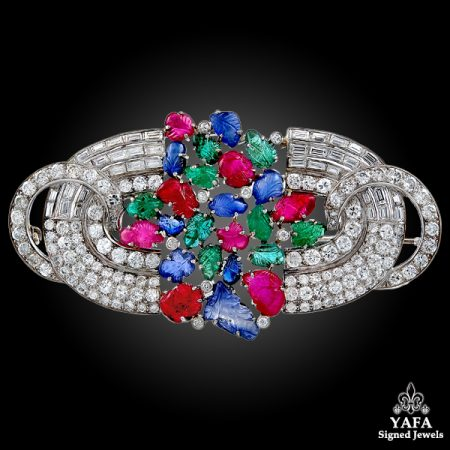 Platinum Tutti Frutti Carved Ruby, Sapphire, Emerald, Diamond Brooch