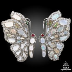 SEAMAN SCHEPPS Diamond & Opal 2 pcs. Butterfly Double Clips