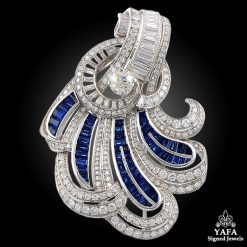 Circa 1940s Diamond & Sapphire Scroll Brooch