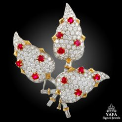 TIFFANY & Co. Schlumberger Diamond & Ruby Flower Brooch