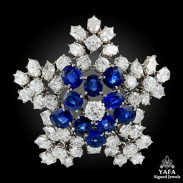 HARRY WINSTON Diamond & Sapphire Star Brooch