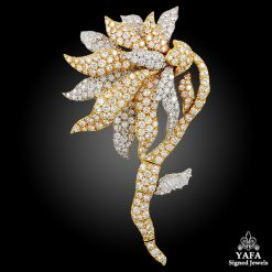 DAVID WEBB Two Tone Diamond Flower Brooch