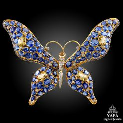 Large Blue, Yellow Sapphire Butterfly Brooch