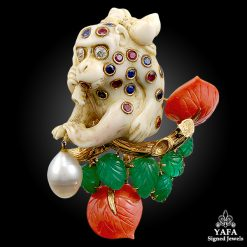 DAVID WEBB Diamond,Pearl & Colored Stone Monkey Brooch