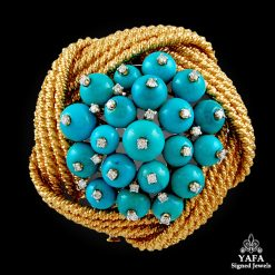 DAVID WEBB Diamond & Turquoise Brooch