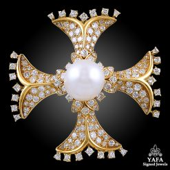 VAN CLEEF & ARPELS Diamond & Pearl Maltese Cross Pin
