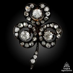 Silver & Gold Diamond 3 Leaf Clover Pin