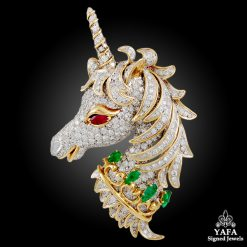 DAVID WEBB Diamond, Emerald & Ruby Unicorn Pin