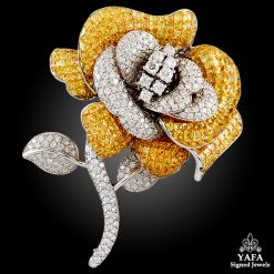 18k Gold Yellow Sapphire & Diamond Rose Brooch