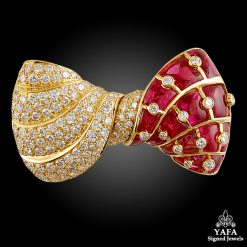BULGARI Diamond, Ruby Bow Brooch