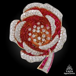 Estate 18k Gold Diamond, Ruby Flower Brooch