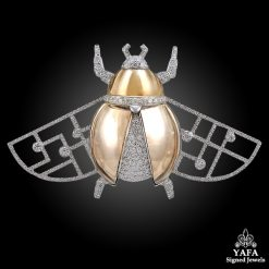 CARTIER Diamond & Smokey Quartz 'Scarab' Brooch
