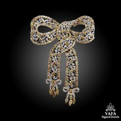 18k Gold Fancy Yellow Diamonds Bow Brooch