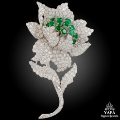 DEPOSE Two Tone Diamond, Emerald Flower Brooch