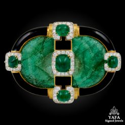 DAVID WEBB Two Tone Emerald, Diamond, Black Enamel Pin-Pendant