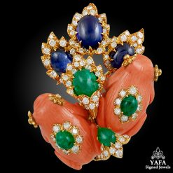 DAVID WEBB 2 Coral Frogs, Cabochon Emerald,Sapphire, Diamond Brooch