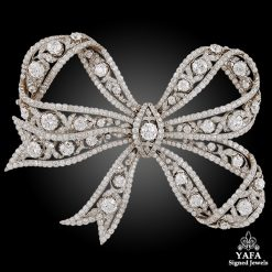 Edwardian Belle Epoque Platinum, 18k Gold Diamond Bow Brooch