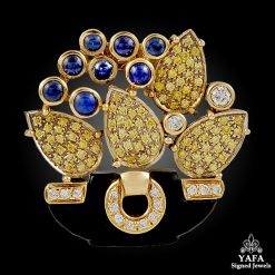 CARTIER Fancy Yellow & White Diamonds, Onyx, Sapphire Pendant