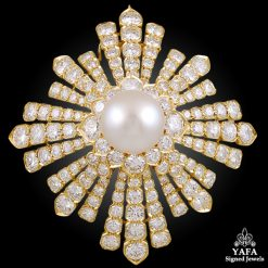 VAN CLEEF & Arpels Diamond & Pearl Brooch - Estee Lauder Collection