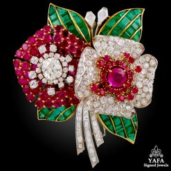 Art Deco Diamond, Ruby, Emerald Flower Brooch