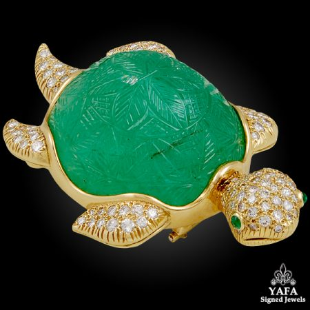VAN CLEEF & ARPELS Diamond, Carved Emerald Turtle Brooch