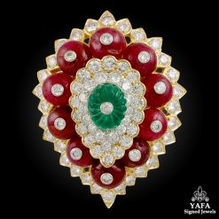 DAVID WEBB Diamond, Carved Emerald,Ruby Brooch