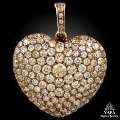 Victorian 18k Gold Diamond Heart Pendant