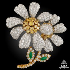 DAVID WEBB White, Yellow Diamond Flower Brooch
