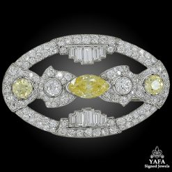 Art Deco Fancy Yellow Diamond Navette Brooch