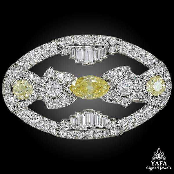 Art Deco Platinum Fancy Intense Yellow Diamond Brooch