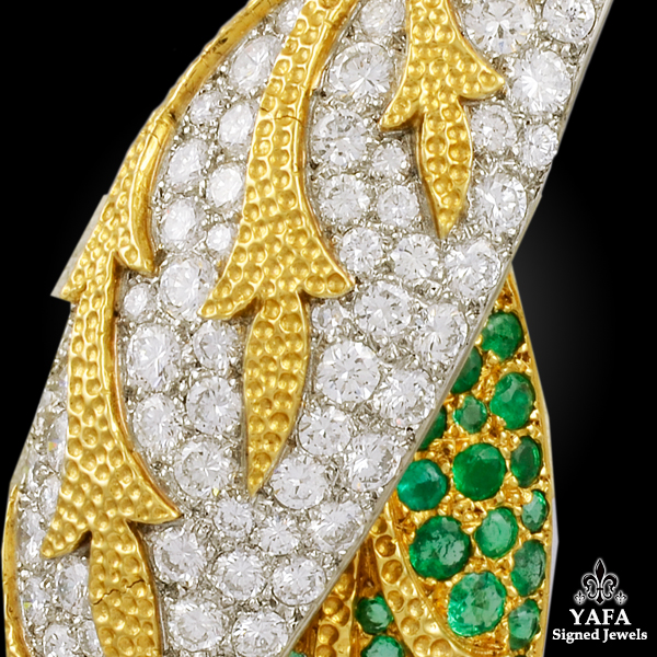 FRED Two Tone Diamond, Emerald 2 Leaf Brooch