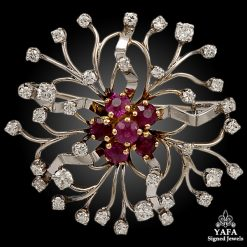 Platinum Ruby, Diamond Brooch