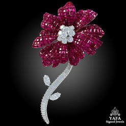 VAN CLEEF & ARPELS Mystery-set Ruby Diamond Brooch