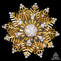 VAN CLEEF & ARPELS Diamond Large Snowflakes Brooch