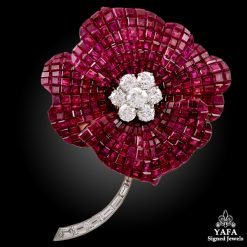 OSCAR HEYMAN Two Tone Ruby, Diamond Flower Brooch