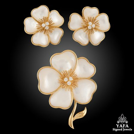 VAN CLEEF & ARPELS Mother of Pearl Diamond Flower Suite Brooch