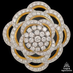 DAVID WEBB 18k Gold, Platinum Diamond Brooch-Pendant