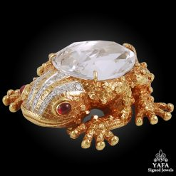 DAVID WEBB Diamond,Ruby Rock Crystal Frog Brooch