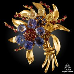 VAN CLEEF & ARPELS Gem Set Bouquet Flower Brooch