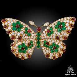 GRAFF Diamond,Emerald,Ruby Butterfly Brooch