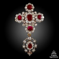 Antique Burma Ruby,Diamond Brooch/Pendant