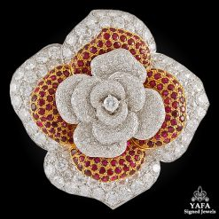 MOUAWAD Diamond, Ruby Flower Brooch