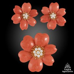 VAN CLEEF & ARPELS Diamond Coral Rose de Noel Brooch Suite