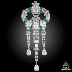 Art Deco Diamond,Emerald Brooch