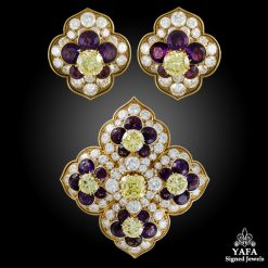 VAN CLEEF & ARPELS Amethyst and Yellow Diamond Brooch, Earrings