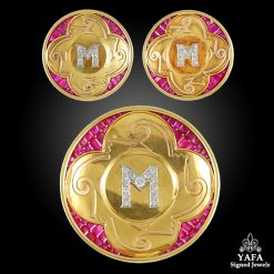 Initial M Brooch,Earrings
