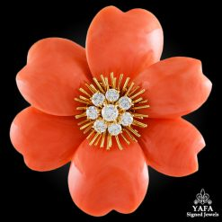 VAN CLEEF & ARPELS Diamond,Orange Coral Rose de Noel Brooch